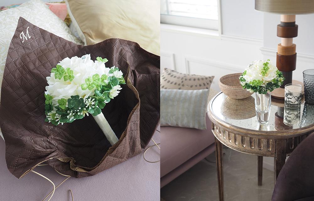 ラッピングをほどくと花束がブーケに変身。結婚式のブーケとしても使用できます。