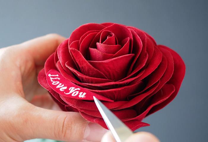 メッセージローズ赤バラ(バラと花瓶のセットギフト)